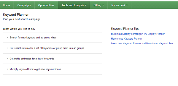 online marketing for coaches keyword planner