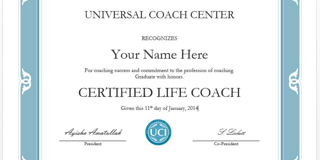 Life Coach Certificate Example