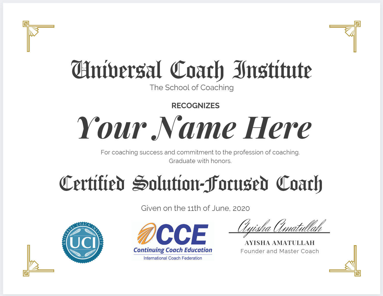 Solution-Focused Coach Certificate - Universal Coach Institute