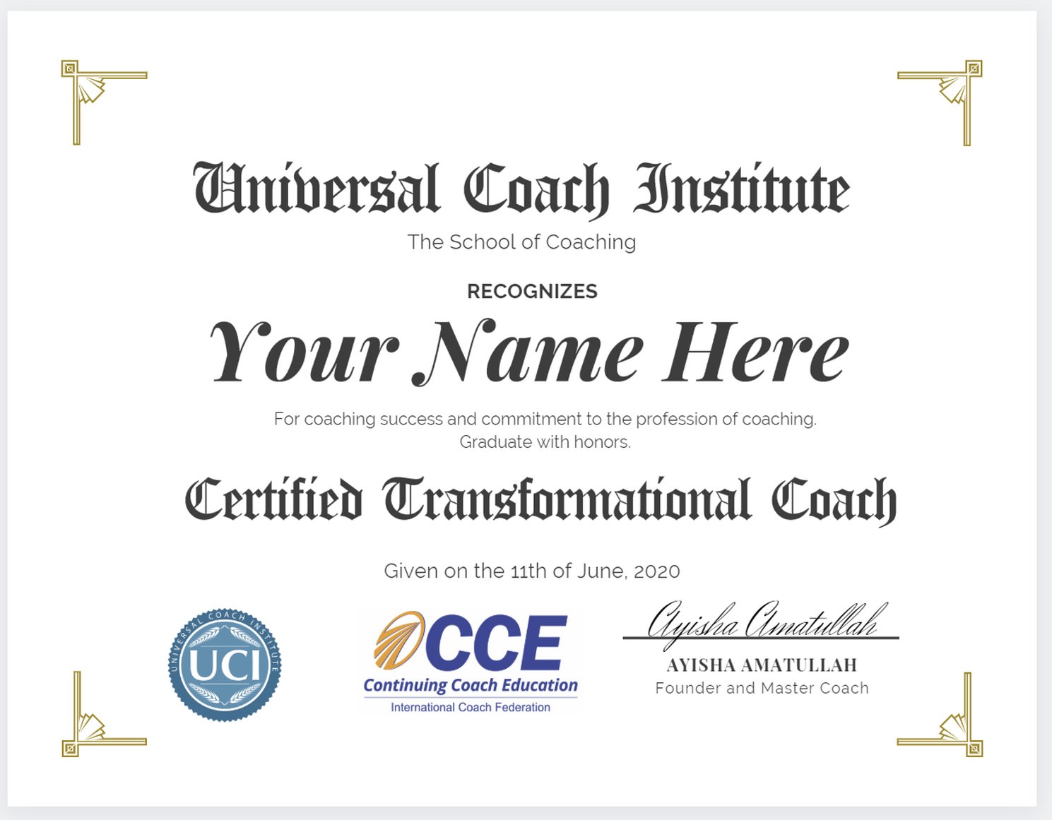 Transformational Coach Certificate - Universal Coach Institute